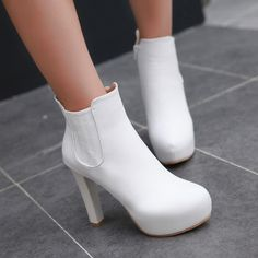 Ankle Boots for Women Platform High Heels Round Toe Zipper Autumn Winter Shoes Woman 6246 Platform High Heels, High Heel Boots, Kawaii Shoes, Winter Shoes For Women, Hype Shoes, White Boots, Ankle Booties, Me Too Shoes, Fashion Shoes