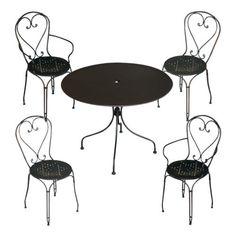 Set-giardino-tavolo-rotondo-90cm-e-4-sedie-impilabili-in-ferro-nero-antiruggine