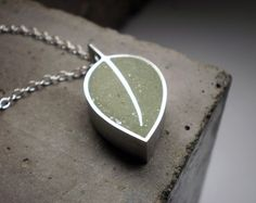 Really like the shape of it - Forest Green Leaf Necklace Emerald Green Concrete and by DrCraze, $90.00
