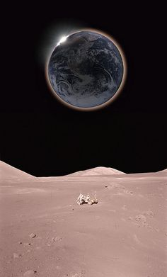 Solar eclipse from the Moon Earth is surrounded with a red-tinted haze as sunlight streams through the planets dusty atmosphere. composite illustration: Hana Gartstein cosmos-the-universe Earth From Moon, Earth From Space, Cosmos, All Nature, Science And Nature, Science Space, Autumn Nature, Sistema Solar, Space And Astronomy