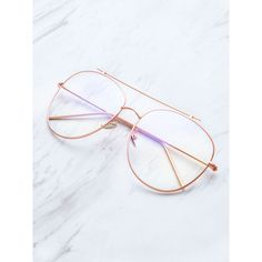 SheIn(sheinside) Rose Gold Frame Clear Lens Double Bridge Glasses (13 AUD) ❤ liked on Polyvore featuring accessories, eyewear, eyeglasses, glasses, gold, clear eyeglasses, gold frames glasses, double bridge glasses, clear lens glasses and lens glasses