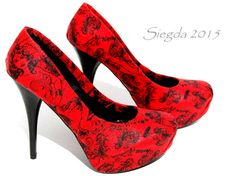 Ladies in Red- Batgirl Heels- Wonder Woman- Supergirl- red- black- comic book- comic con cosplay- gift for her- partypump- wedding - prom-