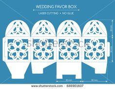 Openwork favor box with a lace ornament. Laser cutting – koupit stock vektor na Shutterstock a najít další snímky. Kirigami, 3d Paper Crafts, Diy And Crafts, Printable Box, Printables, Wedding Favor Boxes, Stencil Patterns, Cricut Cards, Paper Houses