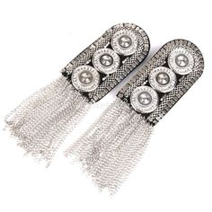 Cheap board equipment, Buy Quality badge embroidered directly from China badge button Suppliers: SUNTEK 1 Pair Fashion Silver Fringe Tassel Link Chain Epaulet Shoulder Boards Badge Look Fashion, Diy Fashion, Shoulder Necklace, Techniques Couture, Chunky Jewelry, Brazilian Embroidery, Beaded Top, Pin Badges, Diy Clothing