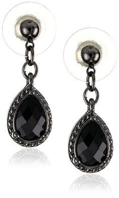 1928 Jewelry Black Victorian Inspired Petite Teardrop Earrings $9.00  #Ad