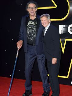 Peter Mayhew, left, and Harrison Ford attend the European Premiere of 'Star Wars: The Force Awakens' at Leicester Square on Dec. 16, 2015, in London. Mayhew plays Chewbacca opposite Ford's Han Solo in the Star Wars films.  WireImage