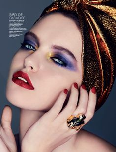Harper's Bazaar Beauty Singapore December 2011.  Birds of Paradise look... poutperfection.com