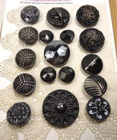 Vintage black glass buttons selection by vintagebuttonemporiu