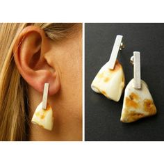 Earrings Amber earrings orange yellow white mosaic