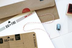 thin red stripes + brown card stock + black ink