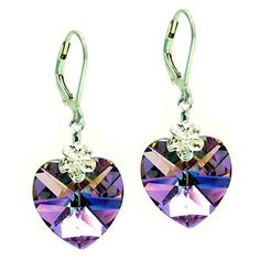 Swarovski Elements Purple Heart Crystal Sterling Silver Leverback Dangle Earrings -- You can get additional details at the image link.