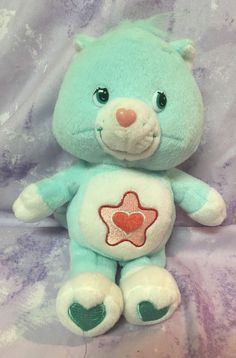"Care Bears Cousins Proud Heart Cat  9"" Red Star Tummy Stuffed Plush Aqua #CareBears"