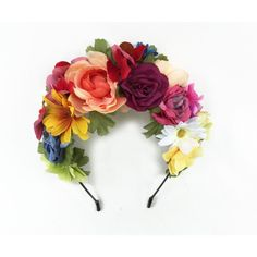 Day of the Dead Flower Crown, Frida Flower Crown, Coachella 2016, Dia... ($54) ❤ liked on Polyvore featuring accessories, hair accessories, flower headbands, crown headband, red flower headband, red headband and flower garland