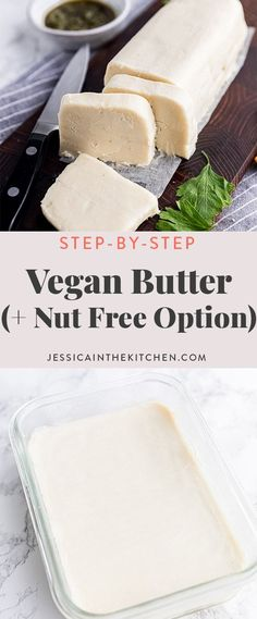 This Homemade Vegan Butter is the perfect dairy-free version of butter! It's easy to make and you can spread it, sauté with it, bake with it, use it in frosting, and yes, you can even brown it! I also have a nut-free version! #vegan #veganrecipes #veganbutter