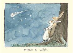 Wenskaart met tekst: Make a wish. Geleverd incl. envelop. Ontwerp: Anita Jeram.