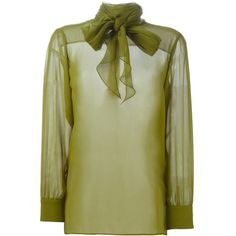 GUCCI Fashion Show Silk Blouse ($473) ❤ liked on Polyvore featuring tops, blouses, green, loose long sleeve tops, green blouse, gucci tops, green long sleeve blouse and long sleeve silk top