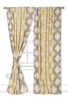Ratio Curtain - Anthropologie.com - I kind of like the look of this one with the two different patterns, could change up to match bathroom