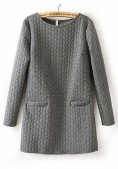 Grey Striped Round Neck Pockets Cotton Blend Sweatshirt