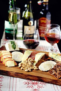 A full cheese tray and spread, complete with wine and beer pairings.