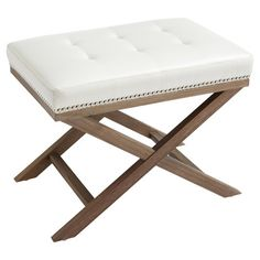 Tufted nailhead-trimmed bench made with reclaimed wood and bonded leather.   Product: BenchConstruction Material: Bond...