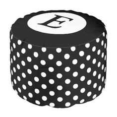 #monogram - #Personalized black and white polka dots pouf