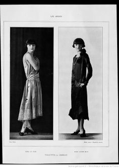 Les modes (Paris), February 1925. Evening dress of liberty pink satin, trimmed with silver lace. Afternoon dress of black satin, trimmed with green and red embroidery.