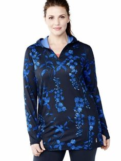 🌴 NWT Lands End Popover Hoodie 1X Coverup Top Blue Floral #curvygirl #pluswoman #LandsEnd #SweatshirtCrew