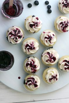 Blueberry Preserves & Blueberry Cupcakes with Honey Buttercream