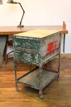 Vintage Industrial Rolling Cart/ Table/ Butcher Block/ Drawers - $380