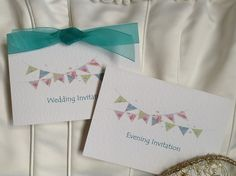 Summer Bunting Top Fold Wedding Invitations. One of our most popular wedding invitation ranges that can be style with ribbon to match your wedding theme. Shop online at www.daisychaininvites.co.uk