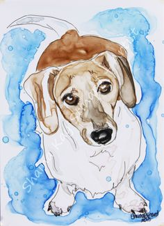 CUSTOM WATERCOLOR PAINTINGS / PORTRAITS / PETS  by Shaina Kay Stinard - Artist.  www.shainastinardartist.com  Making your photos a work of art!  'Winston' - 5 x 7 mixed media sketch on YUPO paper.