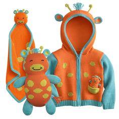 Baby boy clothes#Bundle - 3 items: Fair Indigo Joobles Jiffy the Giraffe Baby Organic Cardigan,Blankie,and Stuffed Toy#save $12.00