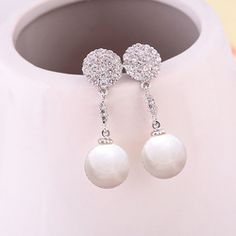 Wholesale pendientes Of High-Grade Silver Needle Long Earrings Such As  Dense Ding Micro Pearl Earrings