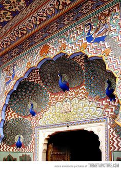 Northern Peacock Gate in the City Palace, Jaipur, India