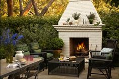 Great spot to sit by an outdoor fire! #outdoor #fireplaces #outdoor #entertaining mantelsdirect.com