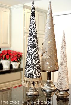 Fabric covered poster board Christmas tree cones - The Creativity Exchange