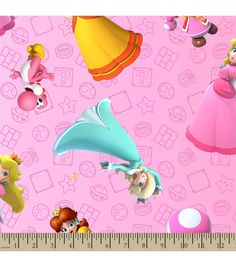 Nintendo® Mario Print Fabric-Super Mario Brothers™ Princess | Personalized Fabric | Online Only Product