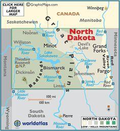 North Dakota State Map Postcard North Dakota States And - North dakota on us map