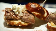 """Filet Mignon Sliders On Pretzel Rolls: bleu cheese, chipotle cream and caramelized onions"" (Happy Ending, 7038 W Sunset Blvd, Hollywood, CA 90028)"
