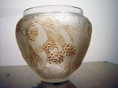 Rene Lalique Hand-blown opaque glass with brown stain in pine cone design