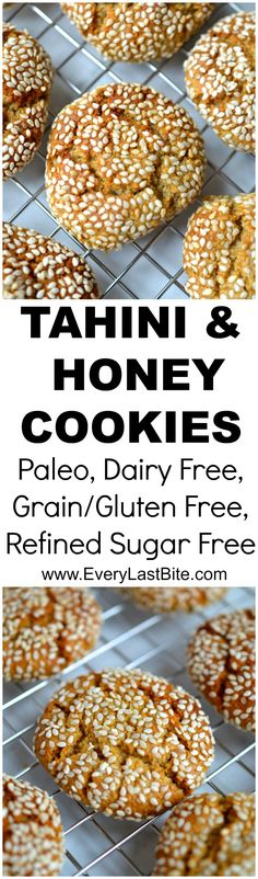 Delicious chewy cookies made with tahini and coated in sesame seeds. One of my favourite cookies! (Paleo, Grain/Gluten Free, Dairy Free, SCD, Low Carb)