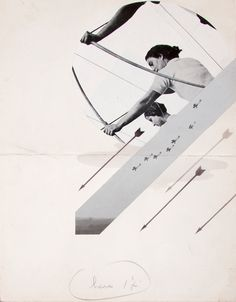 Bruno Munari | Aeroplanes and Archers, (1932). A collage from his mid-twenties shows him thinking about found imagery and representation.