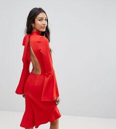 Oh My Love Tall Pephem Midi Dress With Flare Sleeve - Red