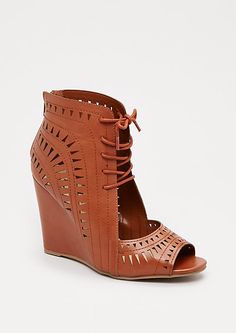 Cognac Geo Cut-Out Wedge Heel | rue21