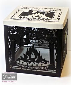 Sandie Gough: Gift Box - Die'sire Christmas Create A Card die; Fireside - Crafter's Companion Matt Black card, Centura Pearl Hint of Silver, Crafter's Companion Printable Acetate, Collal All purpose glue, Collal Tacky Glue,  Crafter's Companion Red Liner Tape - #crafterscompanion #Christmas