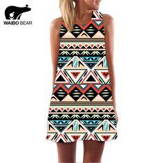 Women Bohemia O-Neck Sleeveless Chiffon National Apparel Triangle Geometric Print Evening Party Tank Dress