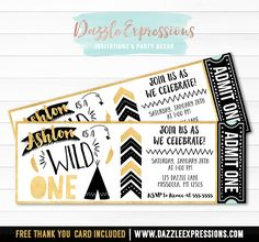 Printable Wild One Ticket Birthday Invitation | Black and Gold Boys 1st Birthday | Tribal | Teepee | First Party Idea | FREE thank you card included | Cupcake Toppers | Favor Tag | Banner | Drink and Food Labels | Signs | Matching Party Package Decor Available!