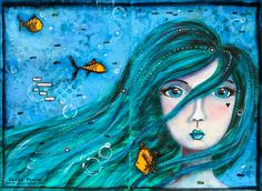 Mermaid. Art journal page. Size A3. Made by Daria Pneva. More details on blog