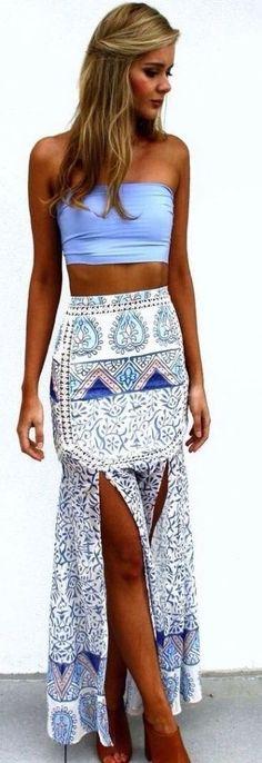 summer outfits bandeau boho print skirt
