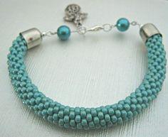 Acquamarine Bead Crochet Bracelet  Aqua Blue by ClayDreamsDesign